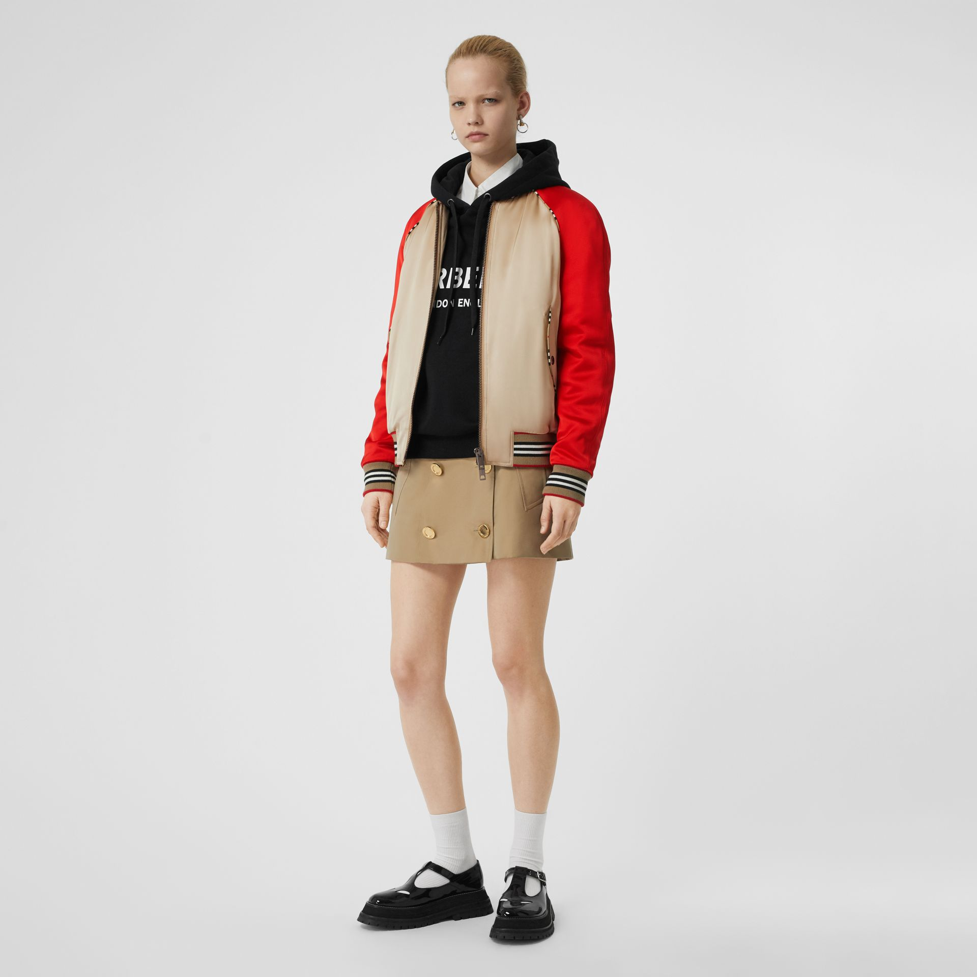 Icon Stripe Detail Monogram Motif Bomber Jacket in Honey/red - Women | Burberry - gallery image 0