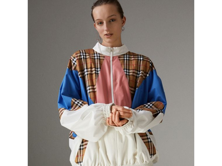 Vintage Check Panel Silk Shell Suit Jacket in White - Women | Burberry Australia - cell image 4