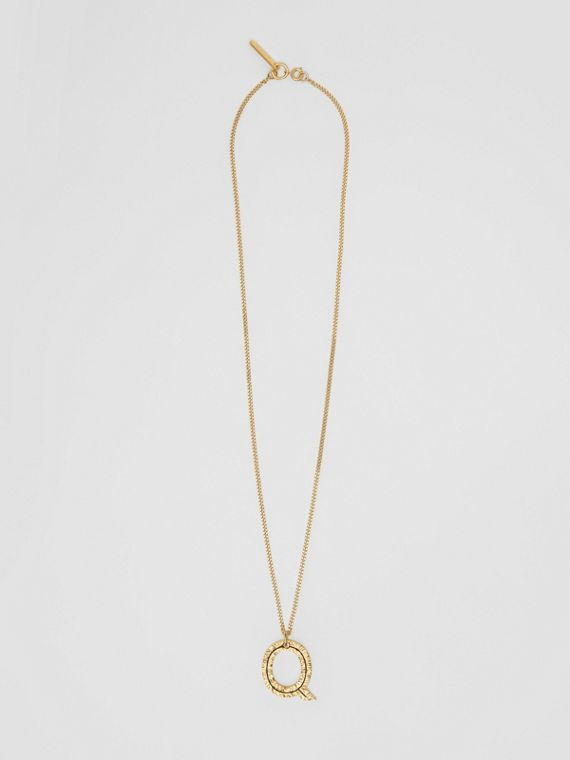 'Q' Alphabet Charm Gold-plated Necklace in Light