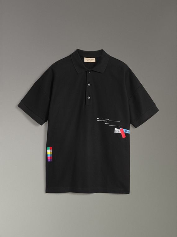 Sport Stripe Oversized Polo Shirt in Black - Men | Burberry - cell image 3