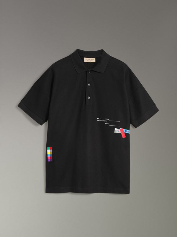 Sport Stripe Oversized Polo Shirt in Black - Men | Burberry United States - cell image 3