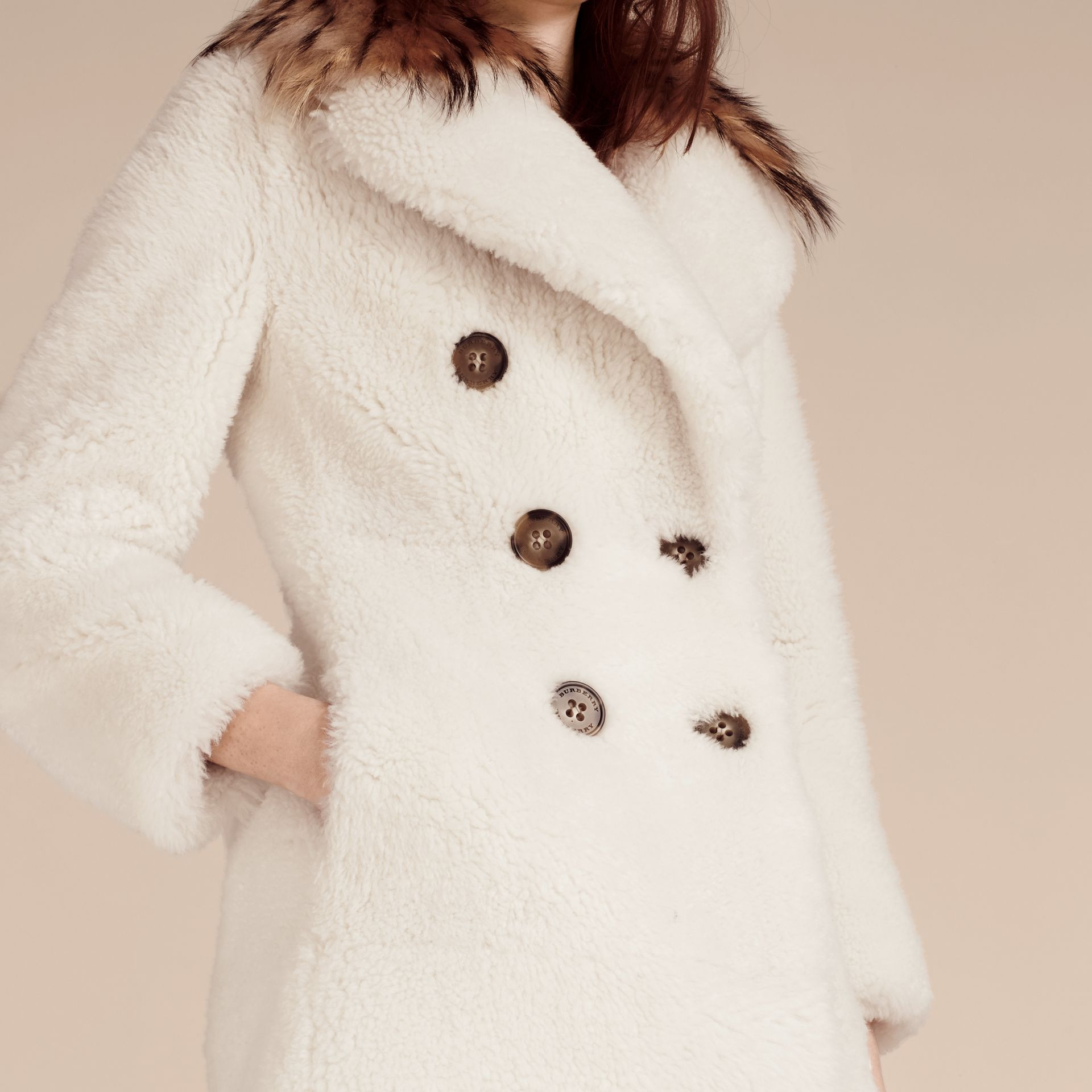 White Double-breasted Shearling Coat - gallery image 5