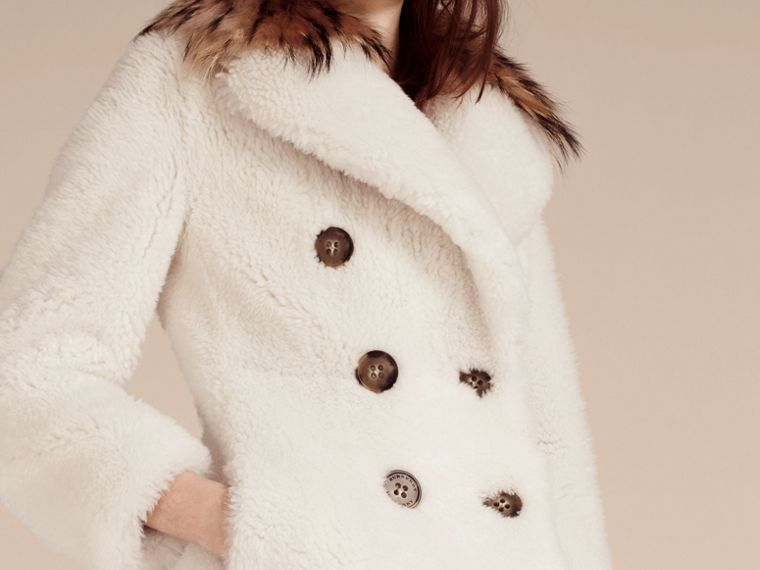 White Double-breasted Shearling Coat - cell image 4