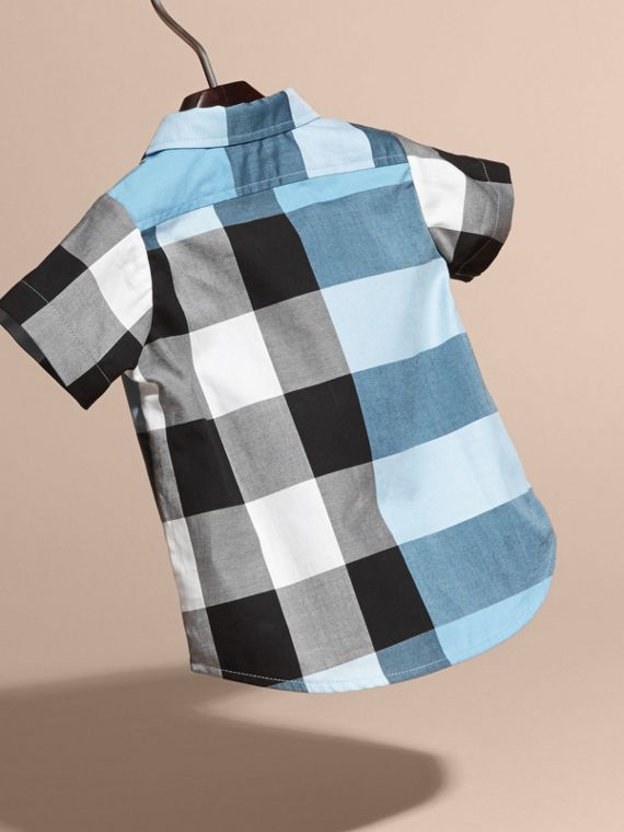 Short-sleeved Check Cotton Shirt Pale Blue - cell image 3