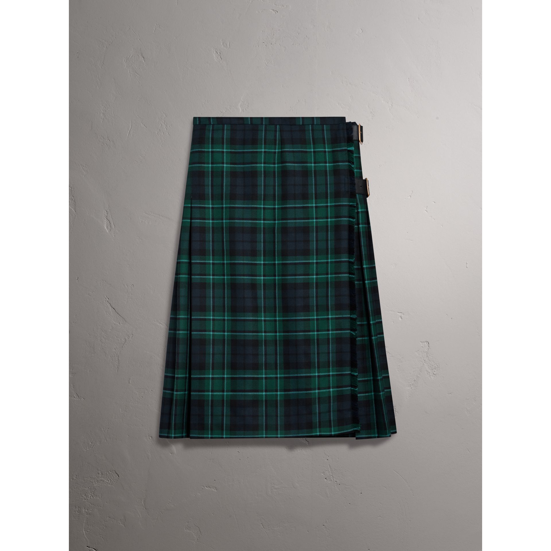 Tartan Wool Kilt in Pine Green - Women | Burberry - gallery image 3