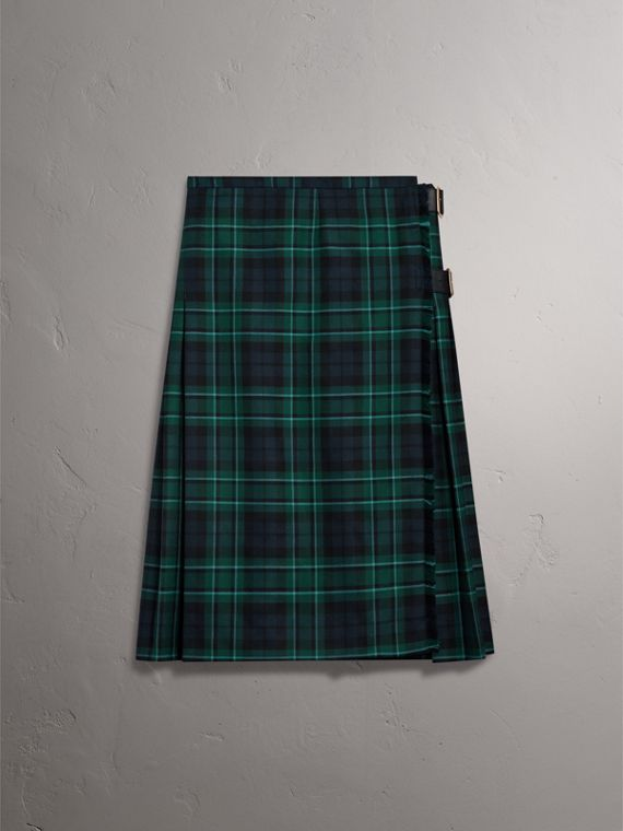 Tartan Wool Kilt in Pine Green - Women | Burberry - cell image 3