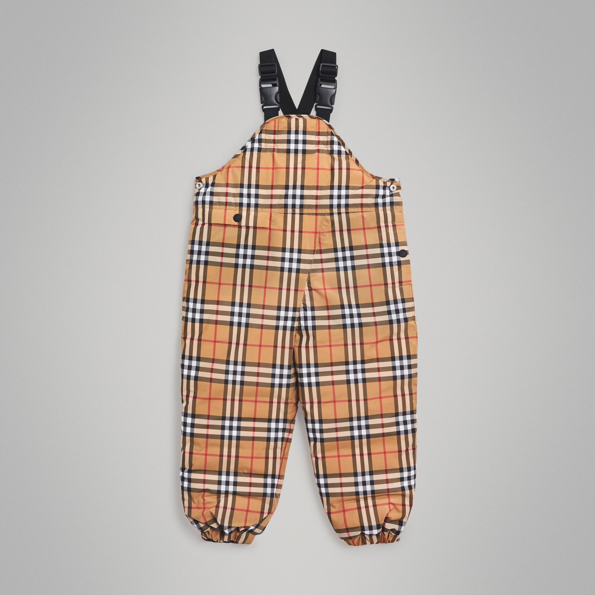 Showerproof Vintage Check Down-filled Dungarees in Antique Yellow | Burberry Australia - gallery image 0