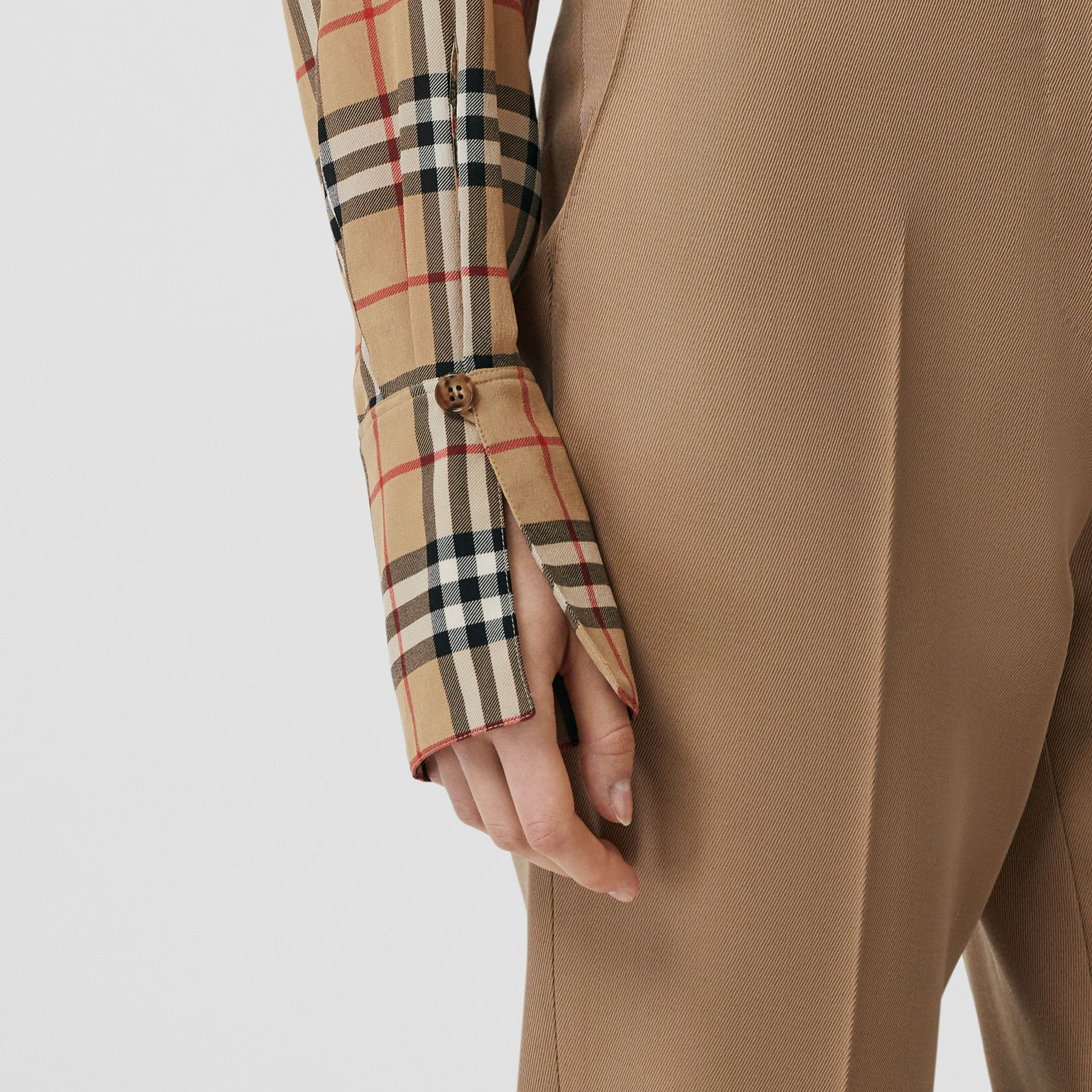 Vintage Check Silk Tie-neck Shirt in Archive Beige - Women | Burberry - gallery image 3