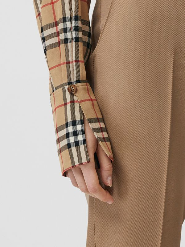 Vintage Check Silk Tie-neck Shirt in Archive Beige - Women | Burberry - cell image 3