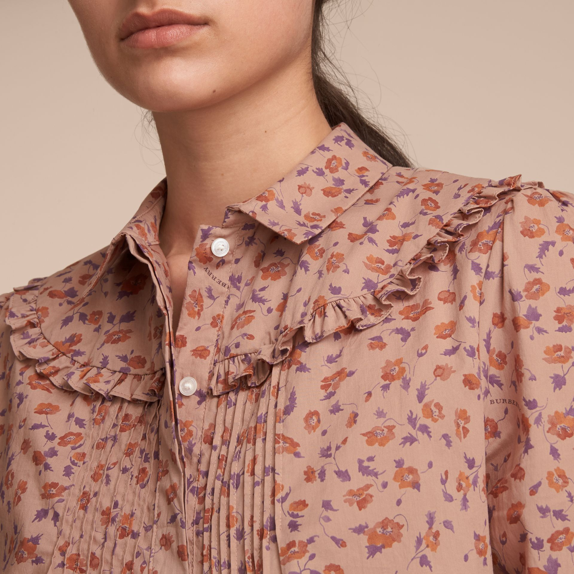 Ruffle Yoke Floral Print Cotton Shirt in Light Copper - Women | Burberry - gallery image 4