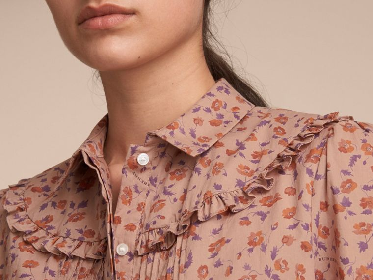 Ruffle Yoke Floral Print Cotton Shirt in Light Copper - Women | Burberry - cell image 4