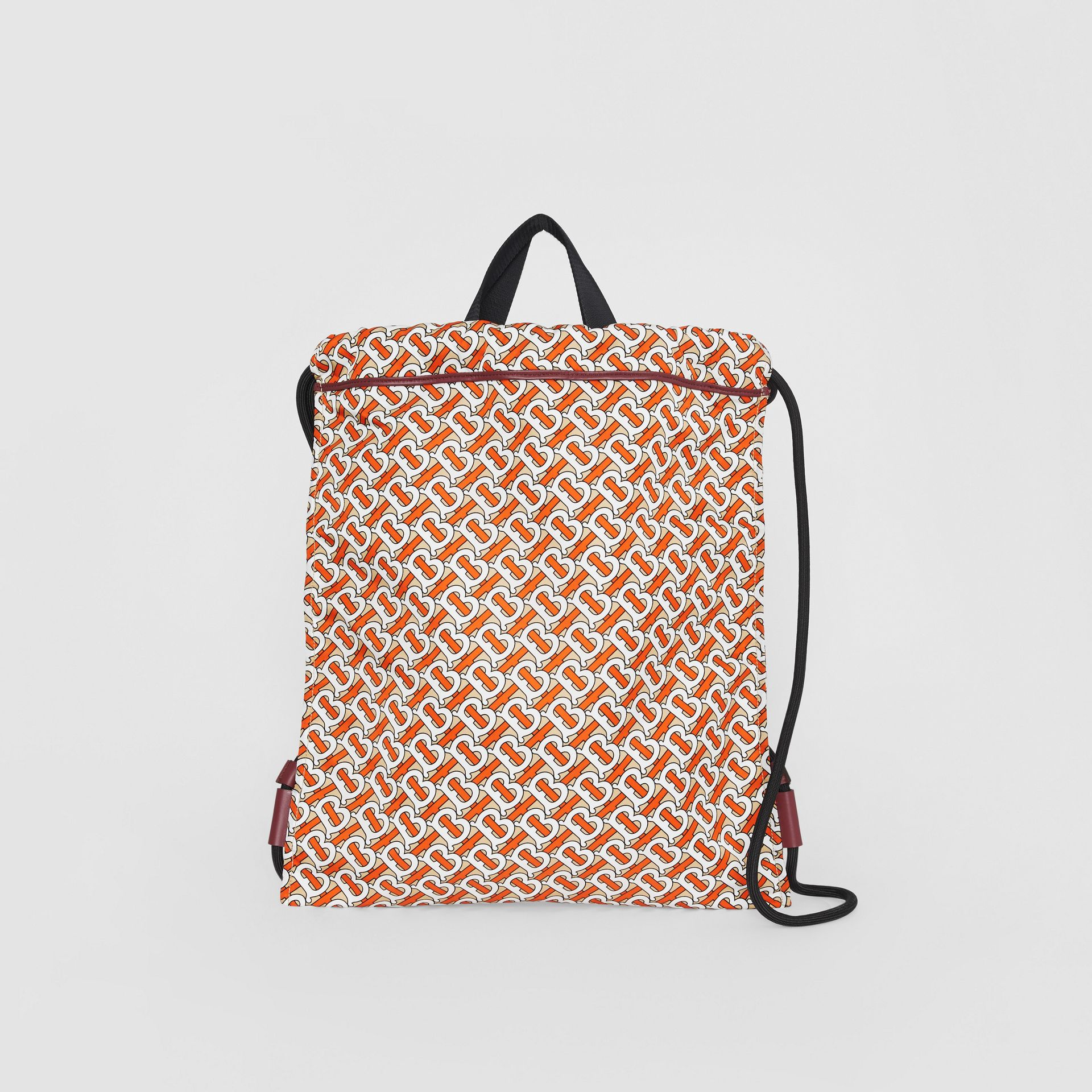 Monogram Print Nylon Drawcord Backpack in Vermilion - Men | Burberry Australia - gallery image 0