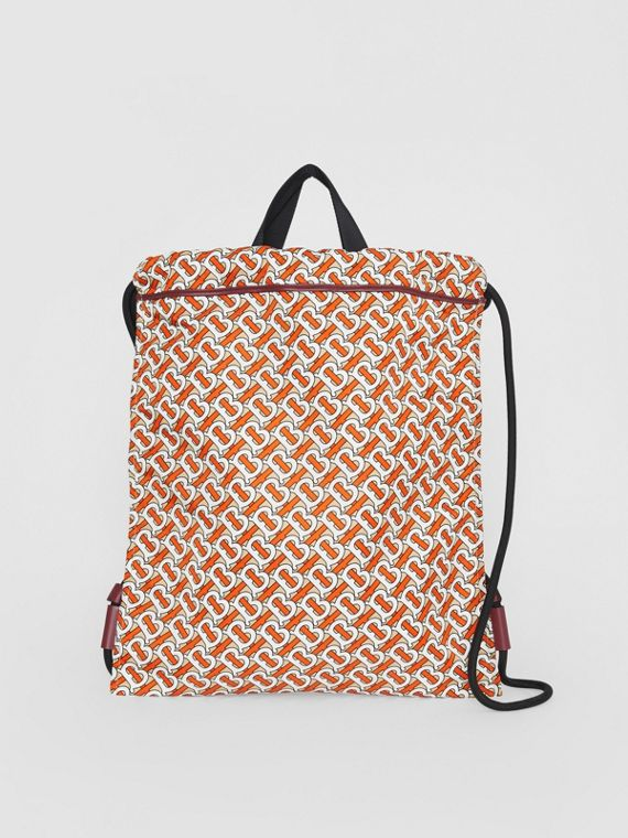 Monogram Print Nylon Drawcord Backpack in Vermilion