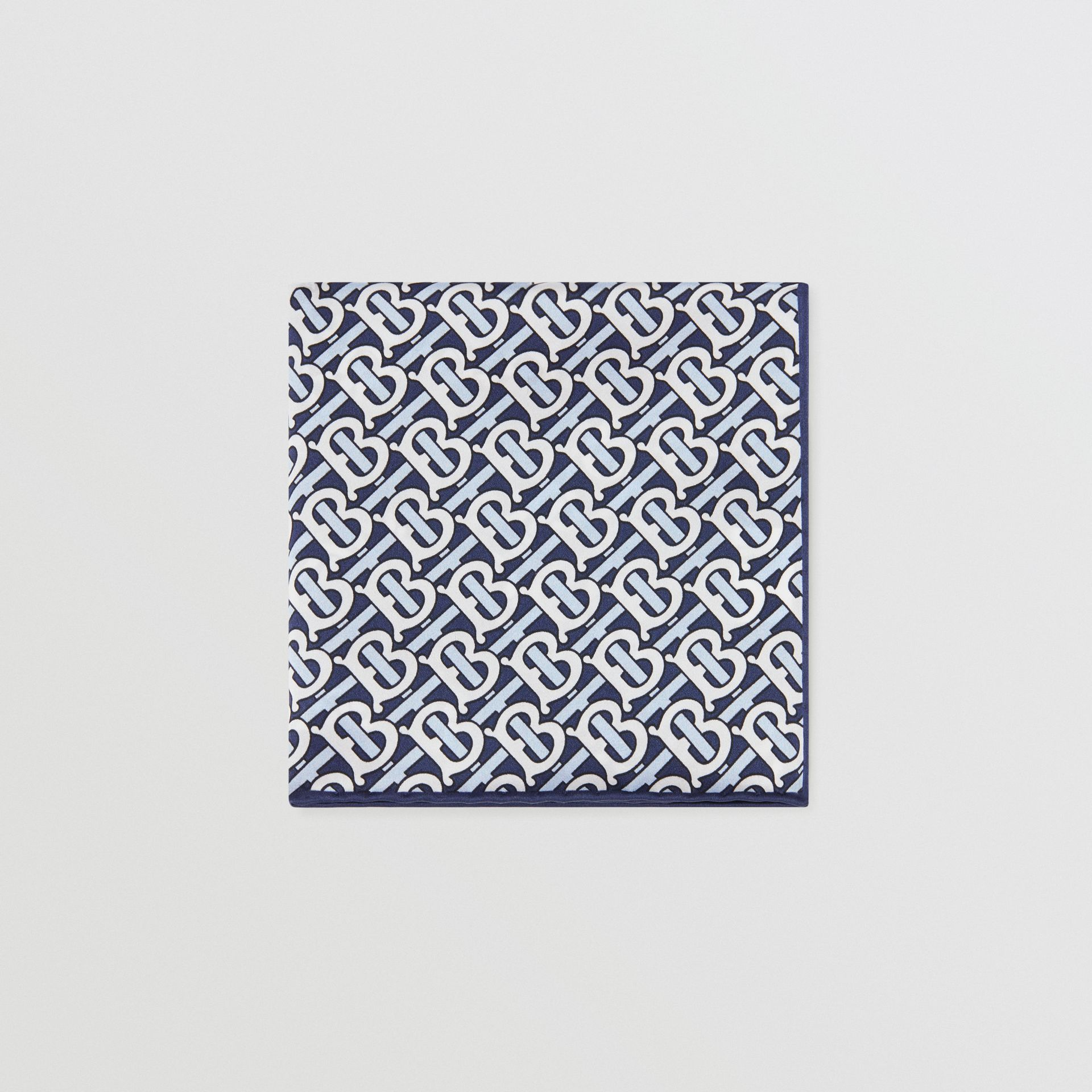 Monogram Print Silk Satin Pocket Square in Cobalt Blue - Men | Burberry - gallery image 0