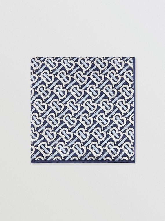 Monogram Print Silk Satin Pocket Square in Cobalt Blue