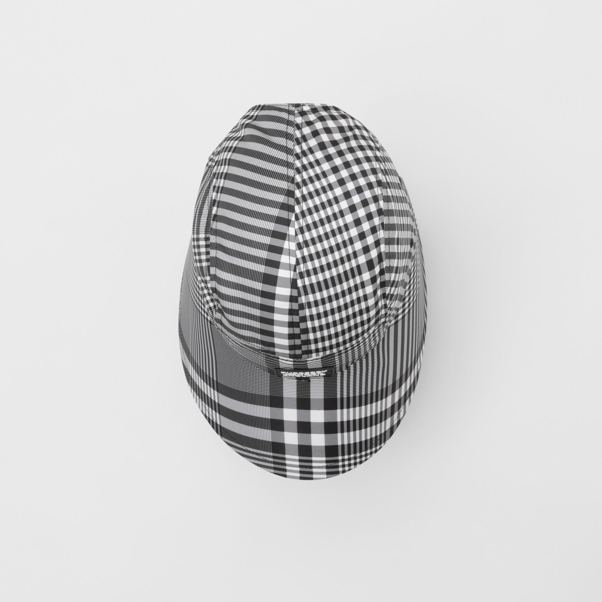 Logo Appliqué Check Bonnet Cap in Black/white | Burberry United Kingdom - gallery image 4