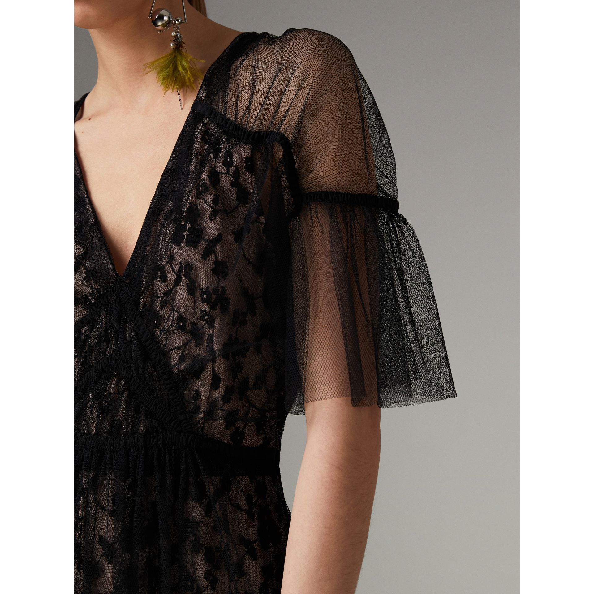 Ruffled Hem Embroidered Tulle Dress in Black - Women | Burberry United States - gallery image 1