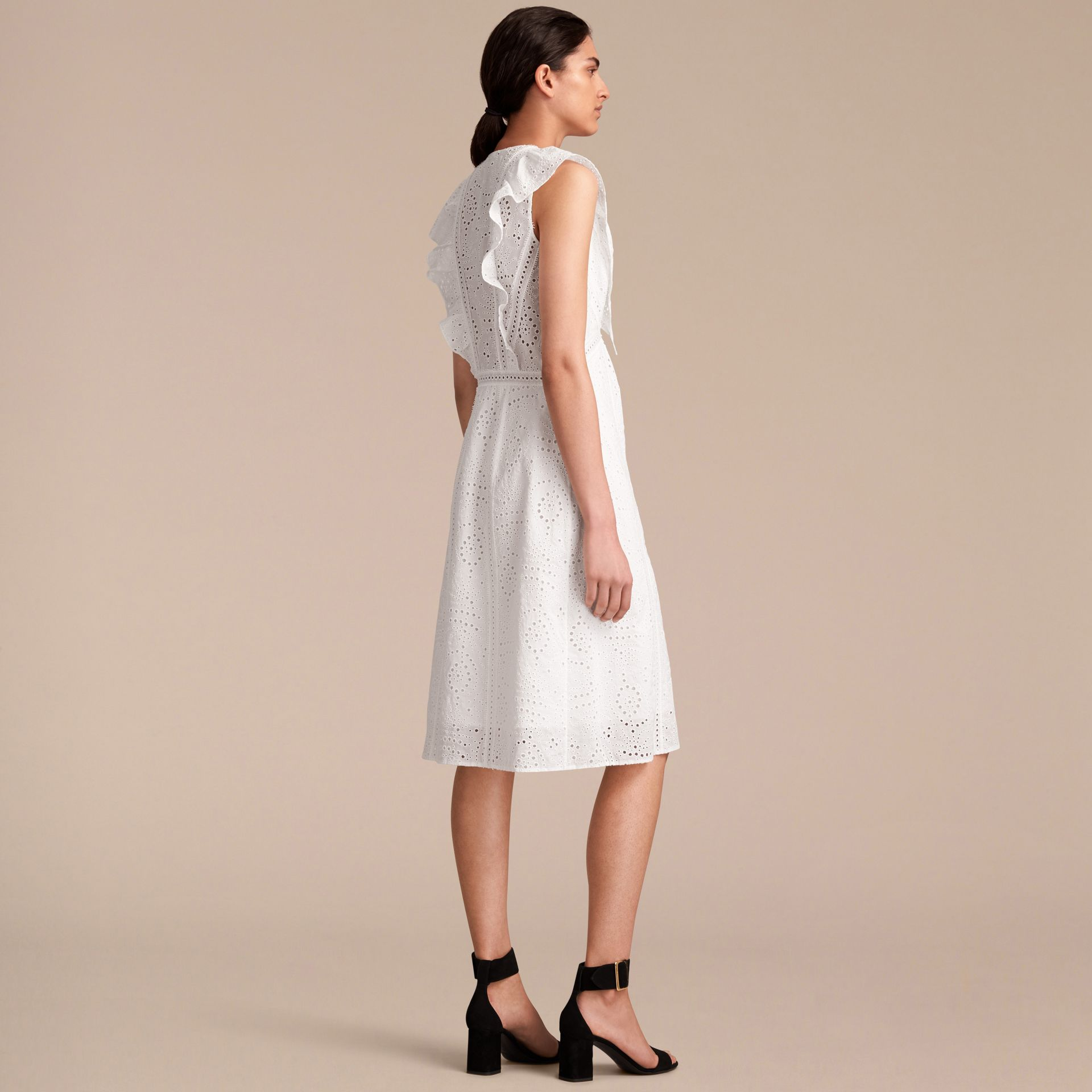 Sleeveless Broderie Anglaise Ruffle Detail Dress - gallery image 3