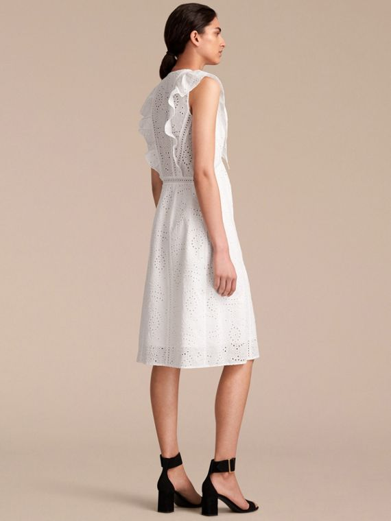 Sleeveless Broderie Anglaise Ruffle Detail Dress - Women | Burberry - cell image 2