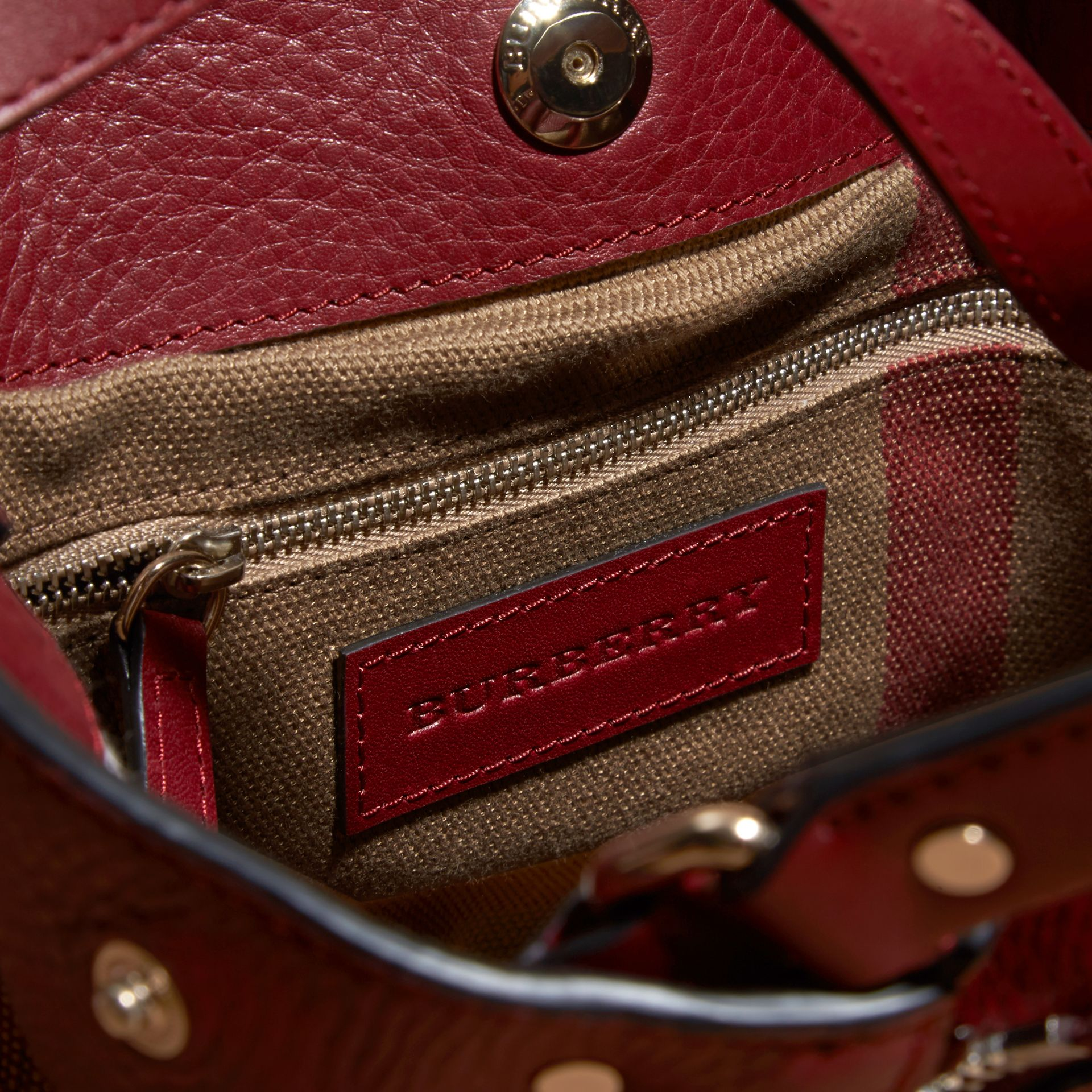 Burgundy red Small Check Detail Leather Tote Bag - gallery image 5