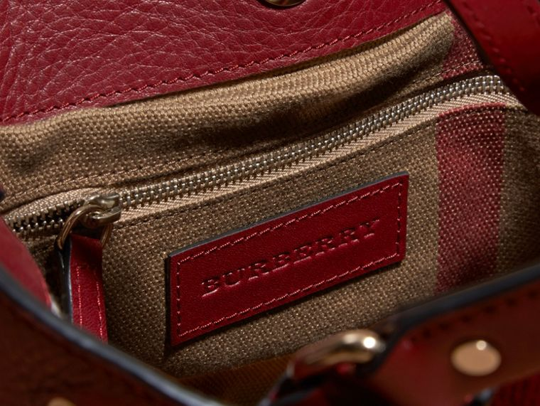 Burgundy red Small Check Detail Leather Tote Bag - cell image 4