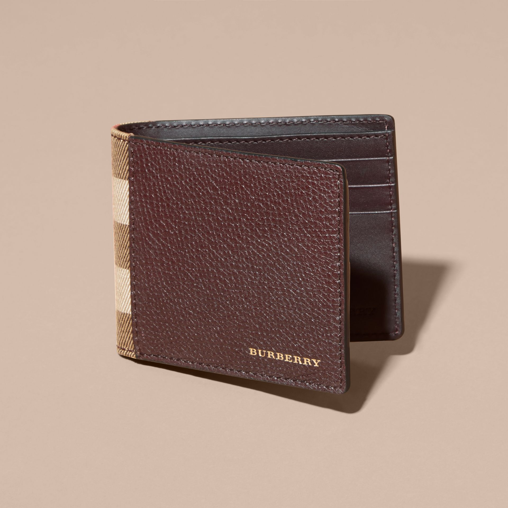 Grainy Leather and House Check Bifold Wallet in Wine | Burberry - gallery image 6