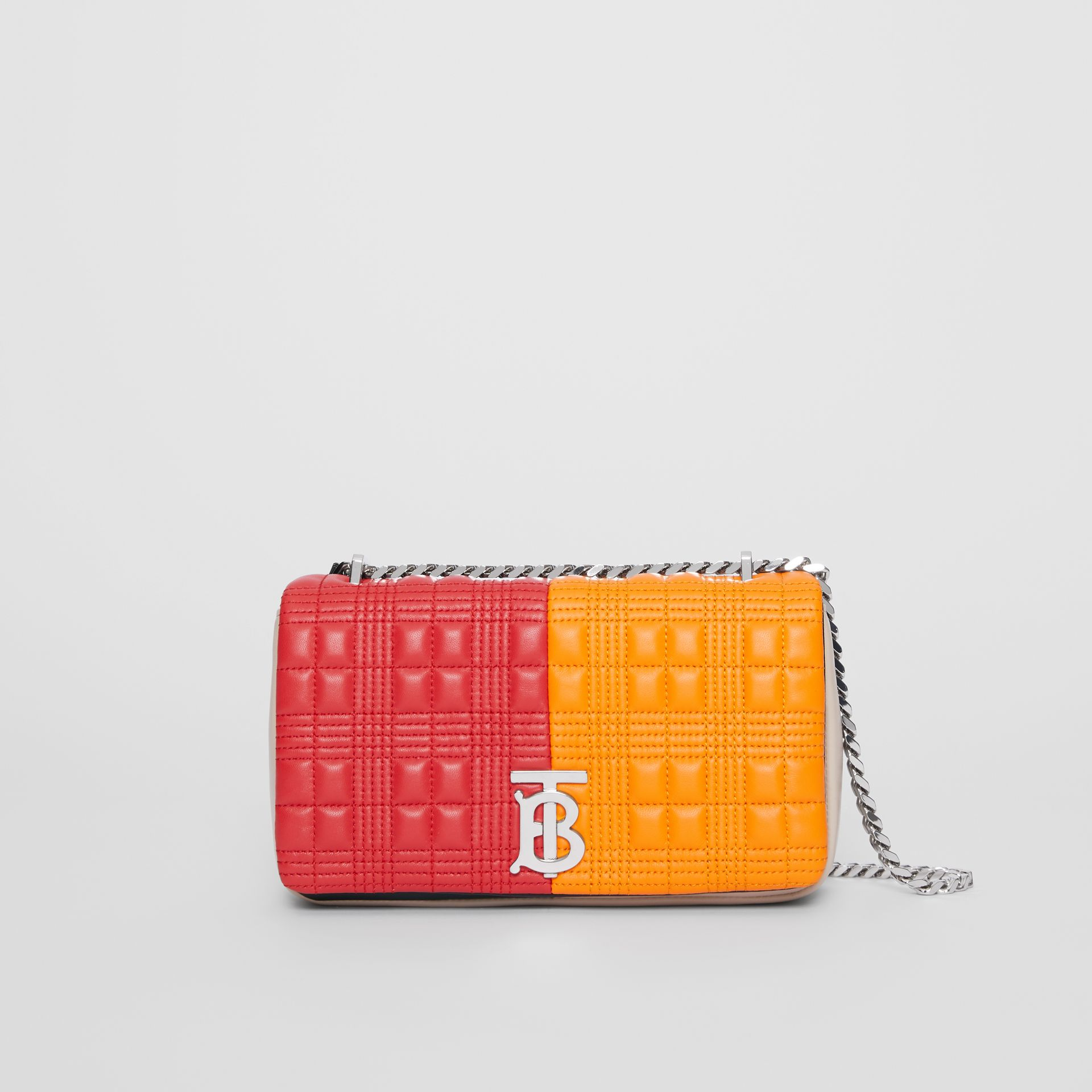 "Kleine Handtasche ""Lola"" aus gestepptem Lammleder in Colour-Blocking-Optik (Leuchtendes Rot/orange) - Damen 