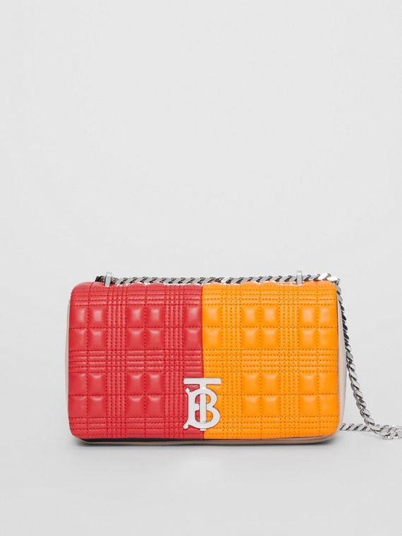 Small Quilted Check Colour Block Lambskin Lola Bag in Bright Red/orange