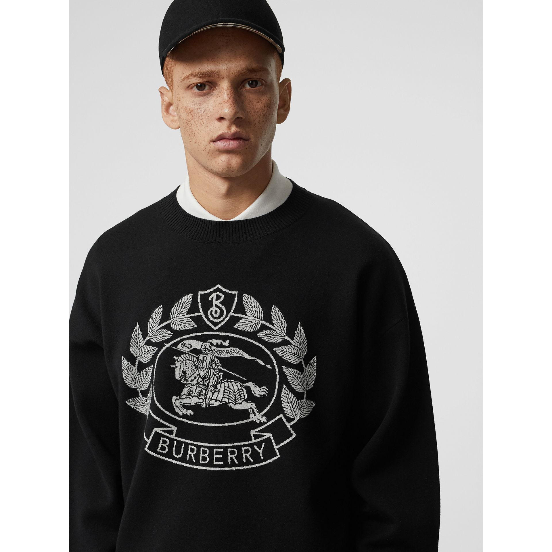 Crest Merino Wool Blend Jacquard Sweater in Black - Men | Burberry Australia - gallery image 1