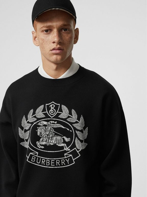 Crest Merino Wool Blend Jacquard Sweater in Black - Men | Burberry United Kingdom - cell image 1