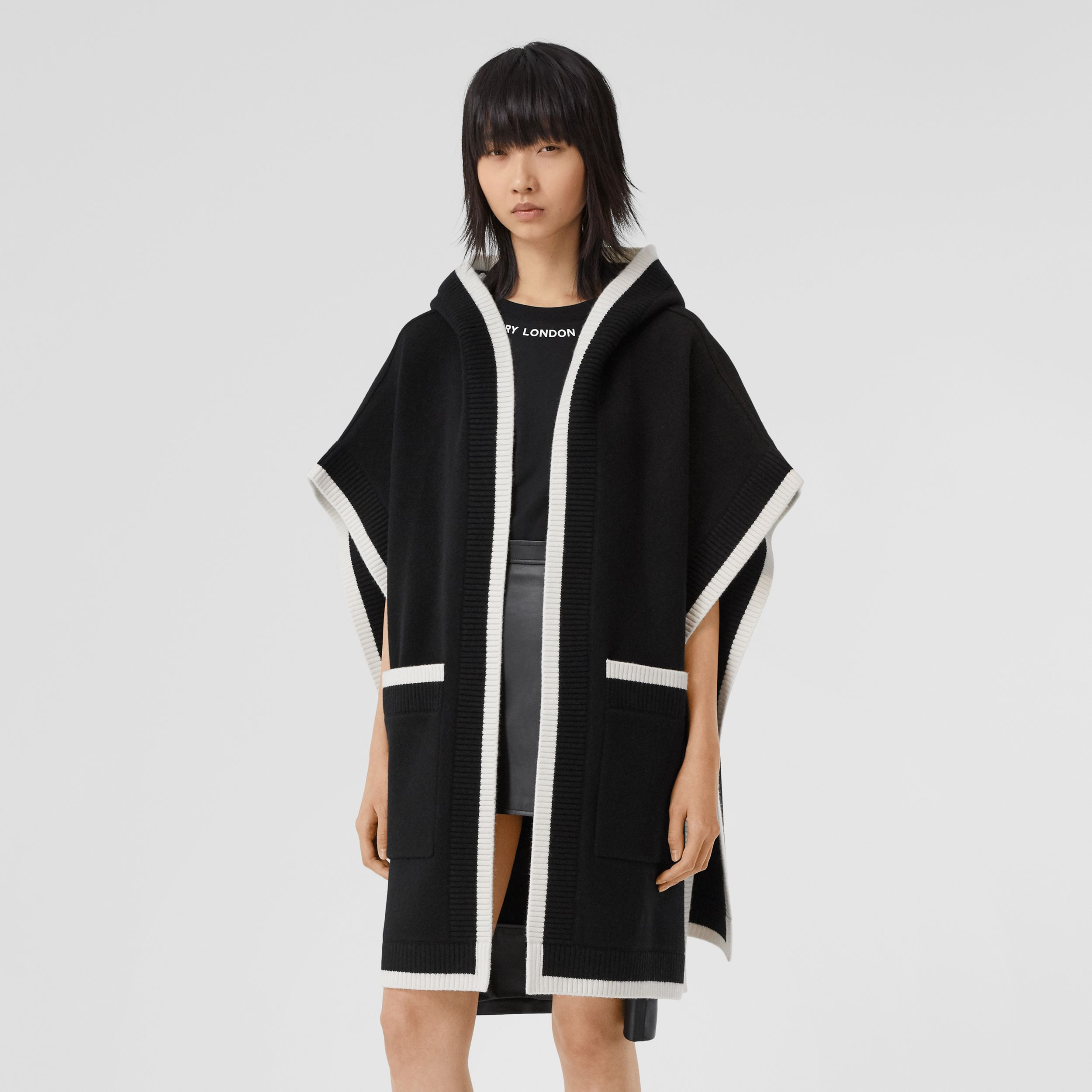 Logo Graphic Wool Cashmere Jacquard Hooded Cape in Black - Women | Burberry - 3