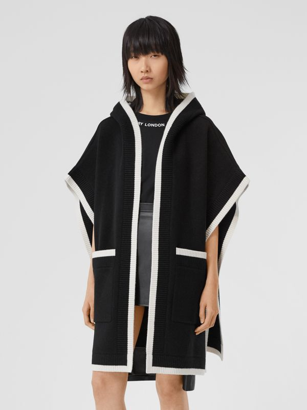 Logo Graphic Wool Cashmere Jacquard Hooded Cape in Black - Women | Burberry United States - cell image 2