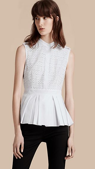 Sleeveless Italian Lace Peplum Top