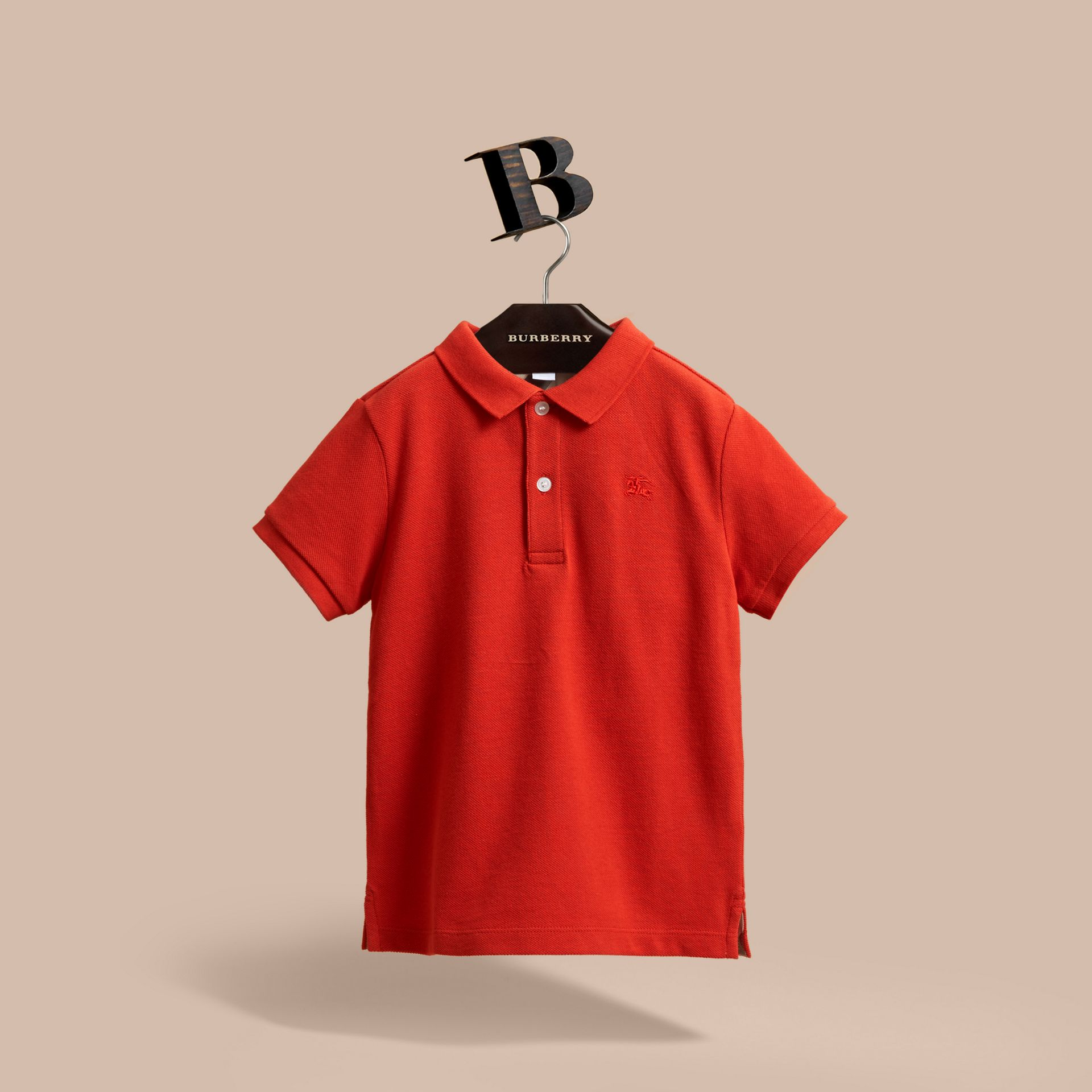Check Placket Polo Shirt in Orange Red - gallery image 1