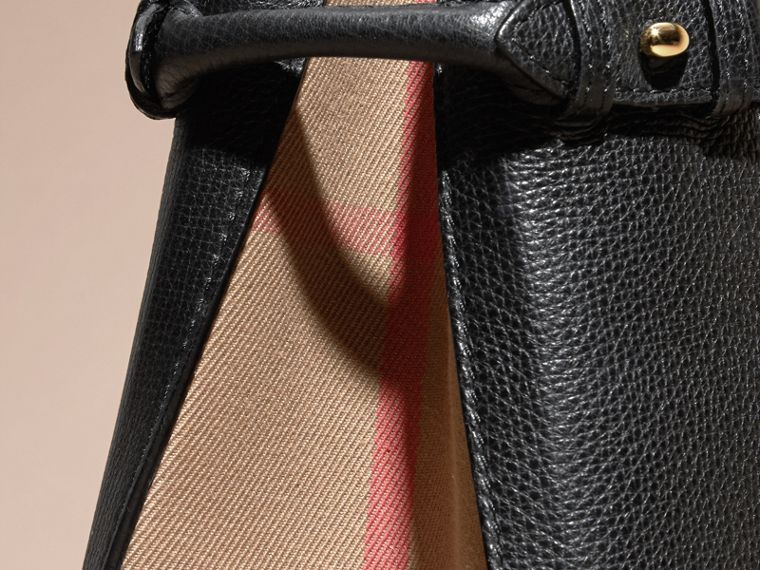 The Medium Banner in Leather and House Check in Black - Women | Burberry Australia - cell image 1