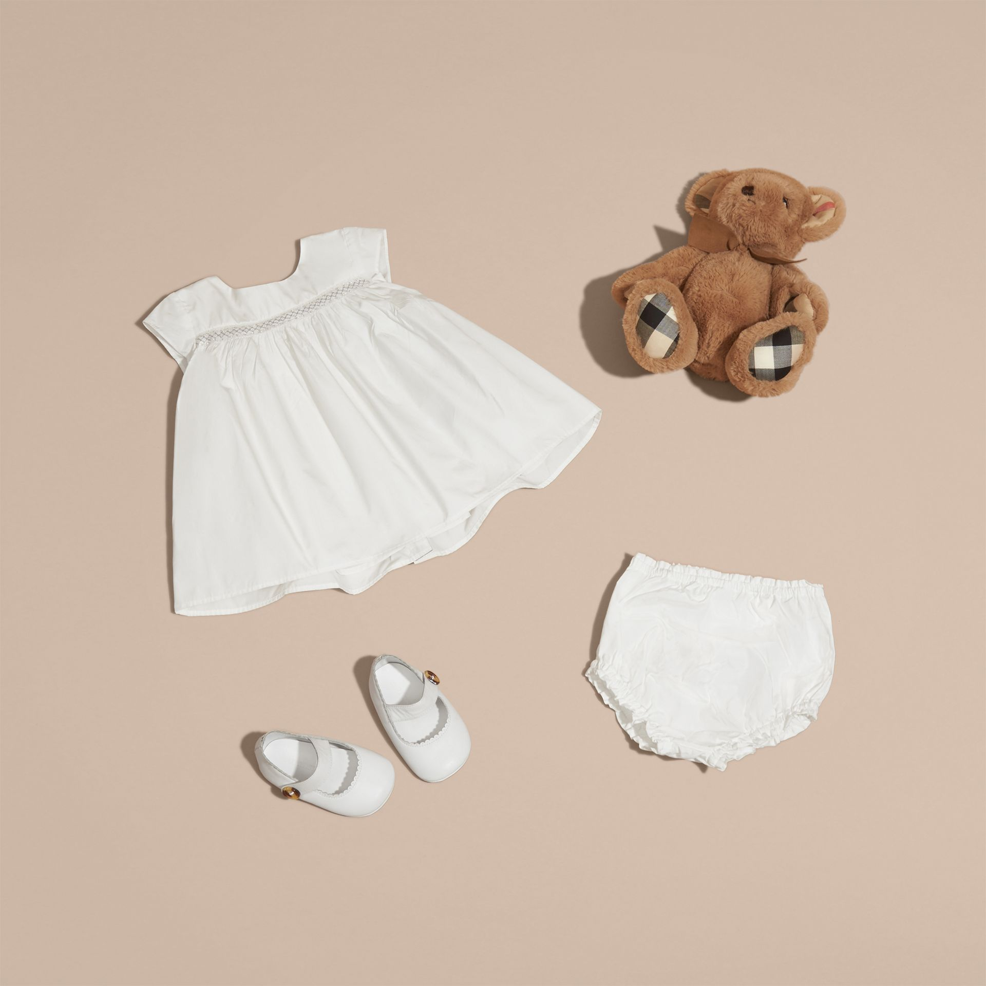 White Embroidered Taffeta Dress with Bloomers - gallery image 5
