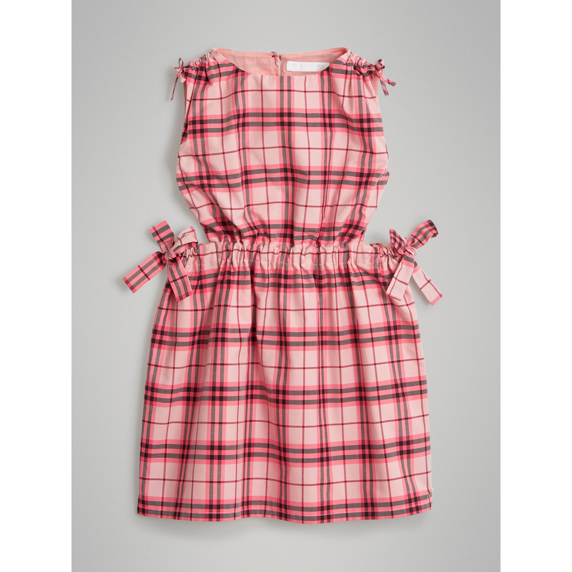 Tie Detail Check Cotton Dress in Bright Rose - Girl | Burberry - gallery image 0