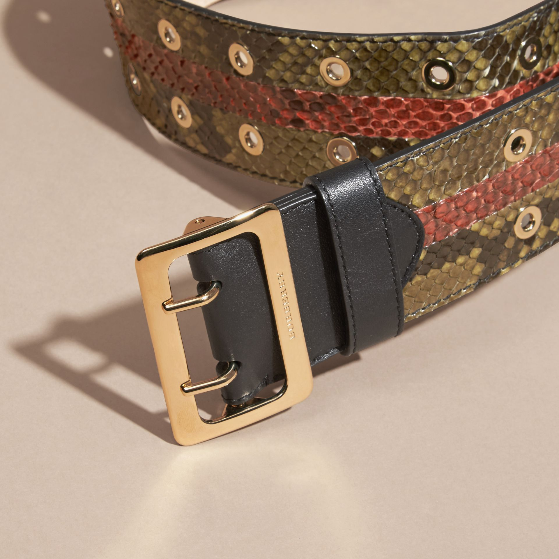 Striped Snakeskin Waist Belt Olive Green - gallery image 2