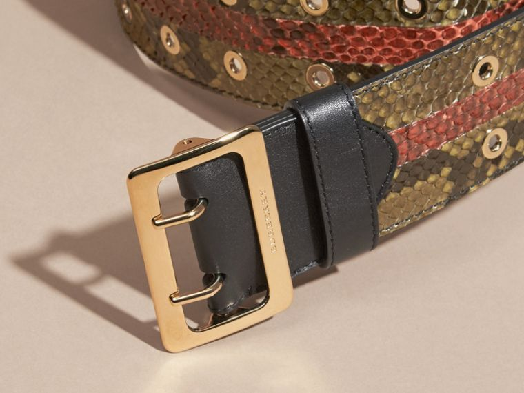 Striped Snakeskin Waist Belt in Olive Green - Women | Burberry - cell image 1