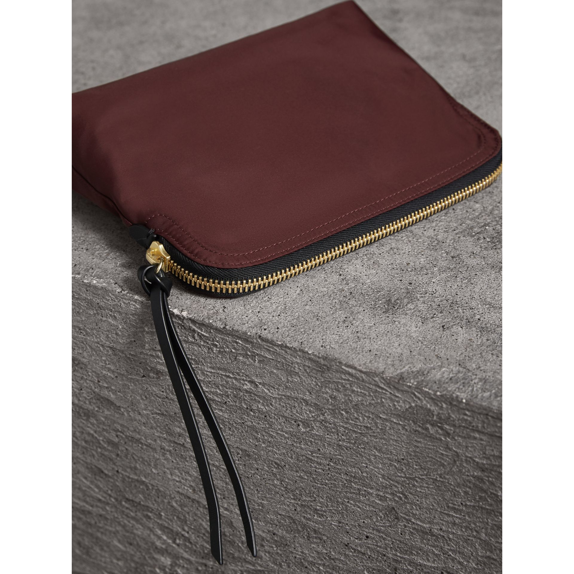 Large Zip-top Technical Nylon Pouch in Burgundy Red - Women | Burberry Canada - gallery image 4