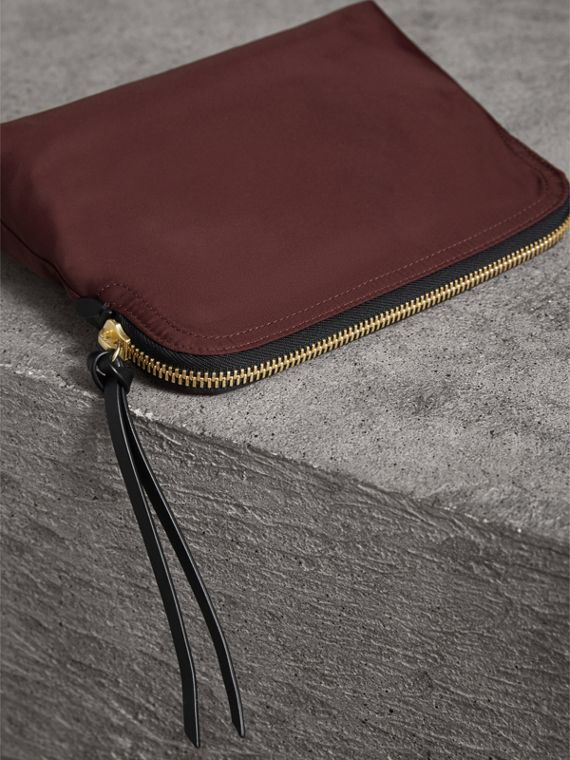 Large Zip-top Technical Nylon Pouch in Burgundy Red - Women | Burberry Canada - cell image 3