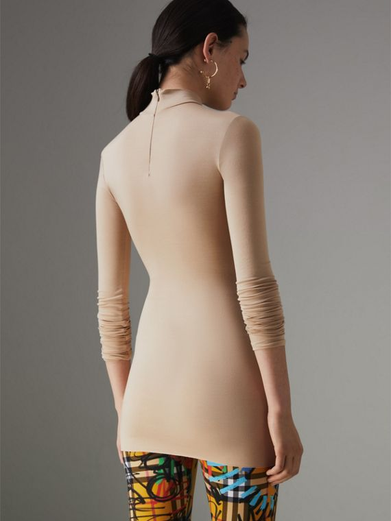 Stretch Modal Silk Turtleneck Top in Honey - Women | Burberry Canada - cell image 2