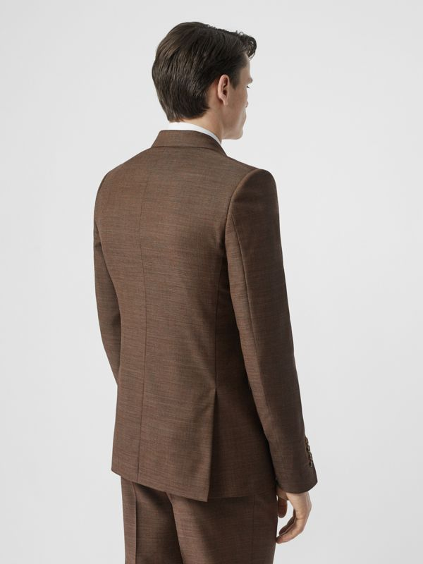 English Fit Sharkskin Wool Double-breasted Jacket in Deep Brown - Men | Burberry - cell image 2