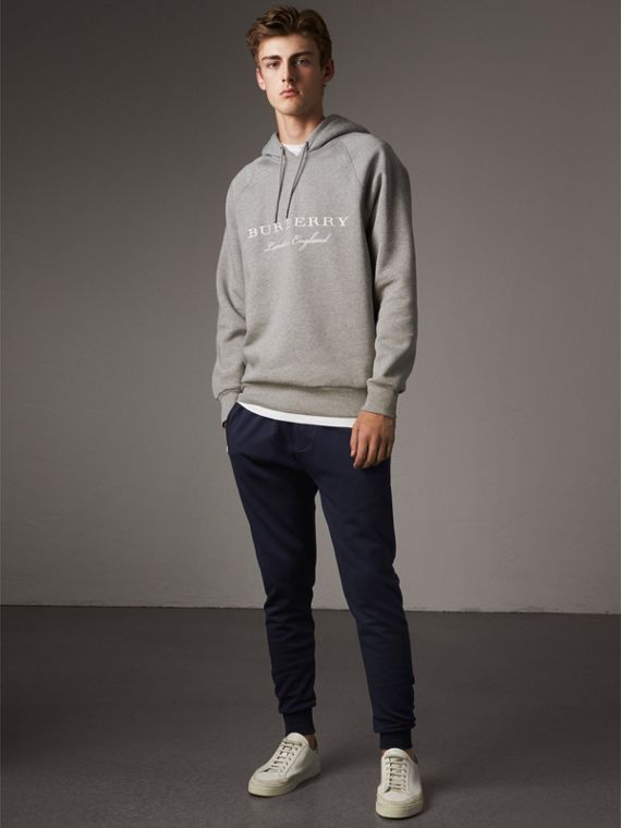 Cotton Sweatpants in Navy - Men | Burberry Singapore - cell image 3