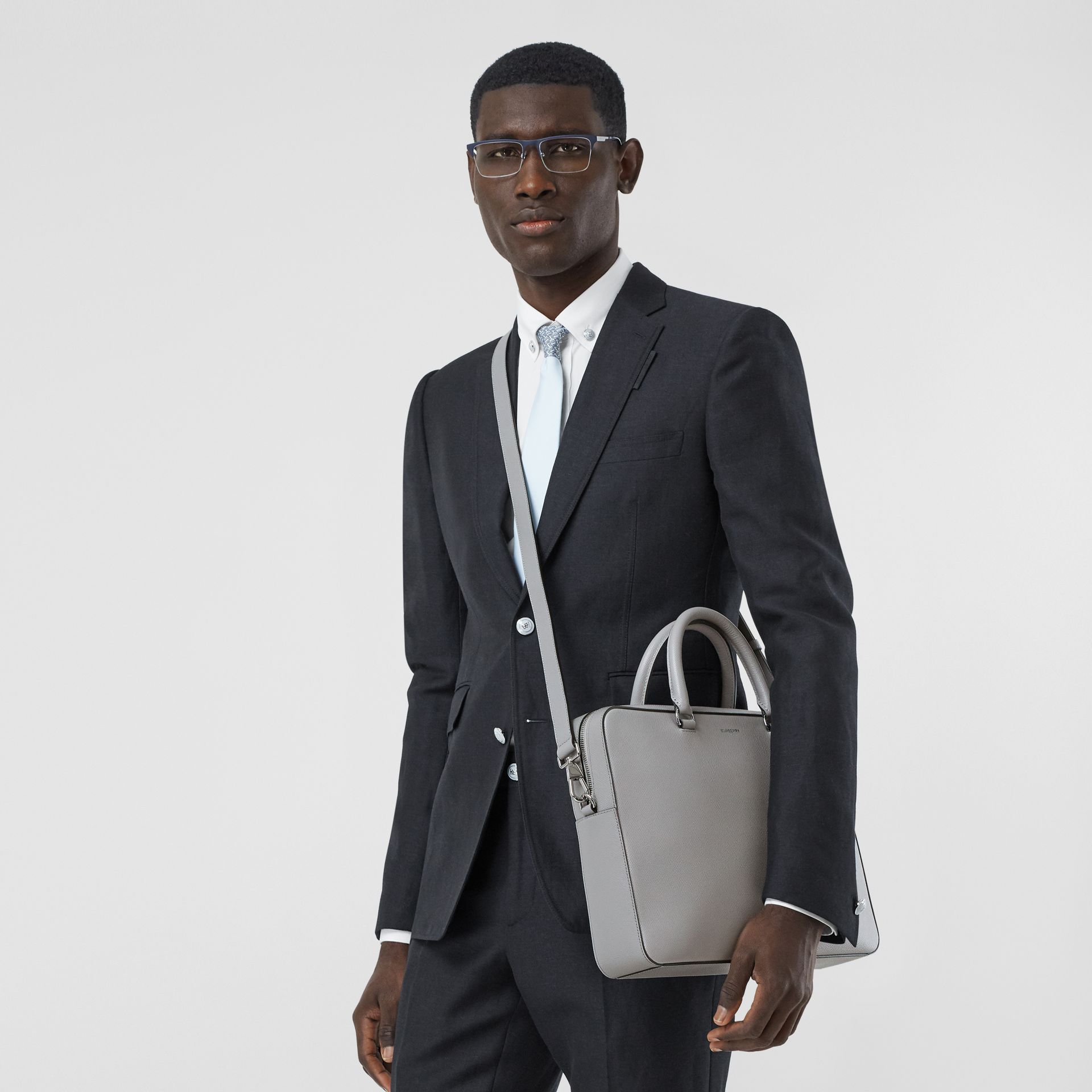 Grainy Leather Briefcase in Cloud Grey - Men | Burberry - gallery image 2
