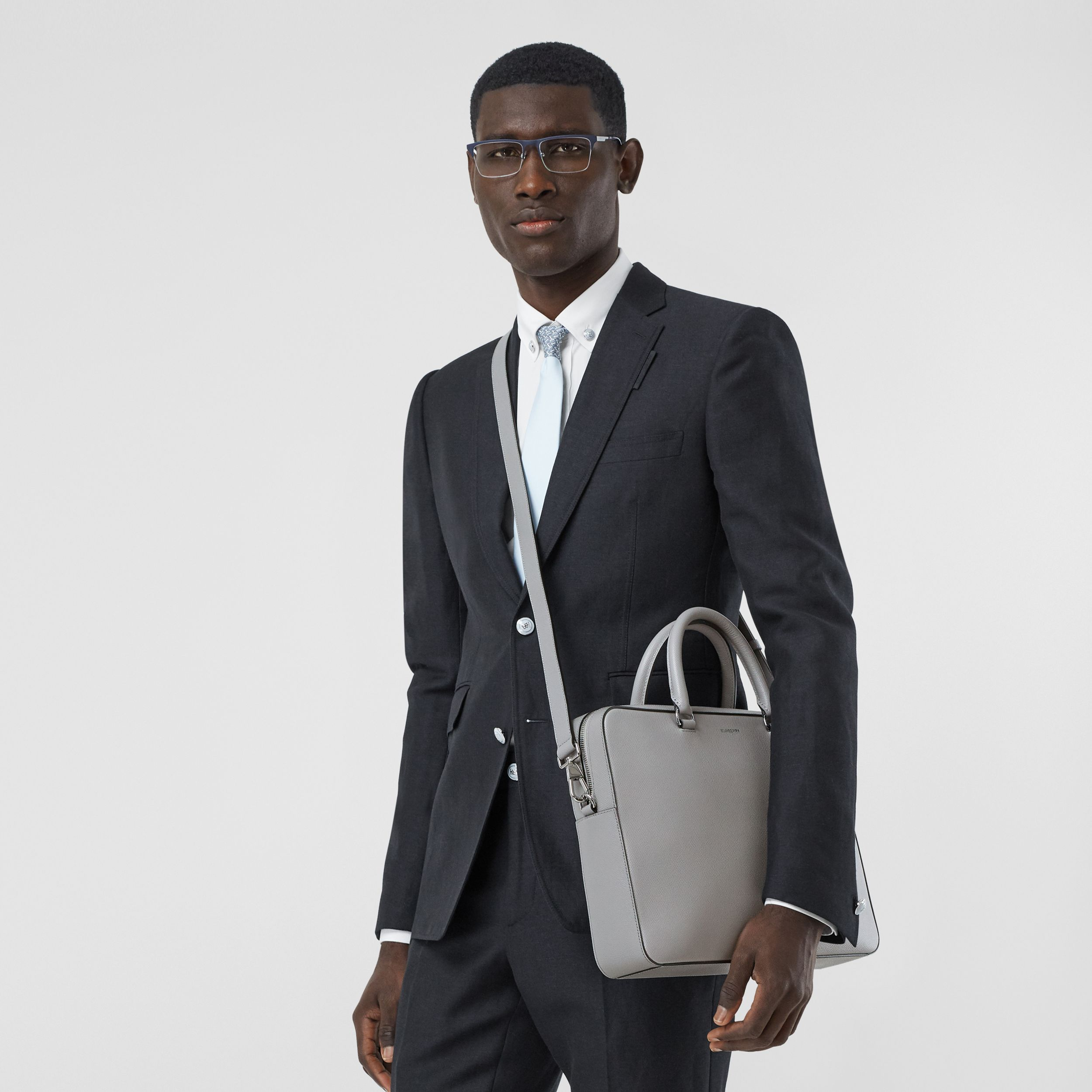 Grainy Leather Briefcase in Cloud Grey - Men | Burberry Canada - 3