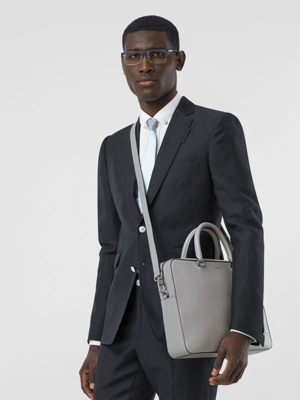 Grainy Leather Briefcase in Cloud Grey - Men | Burberry - cell image 2