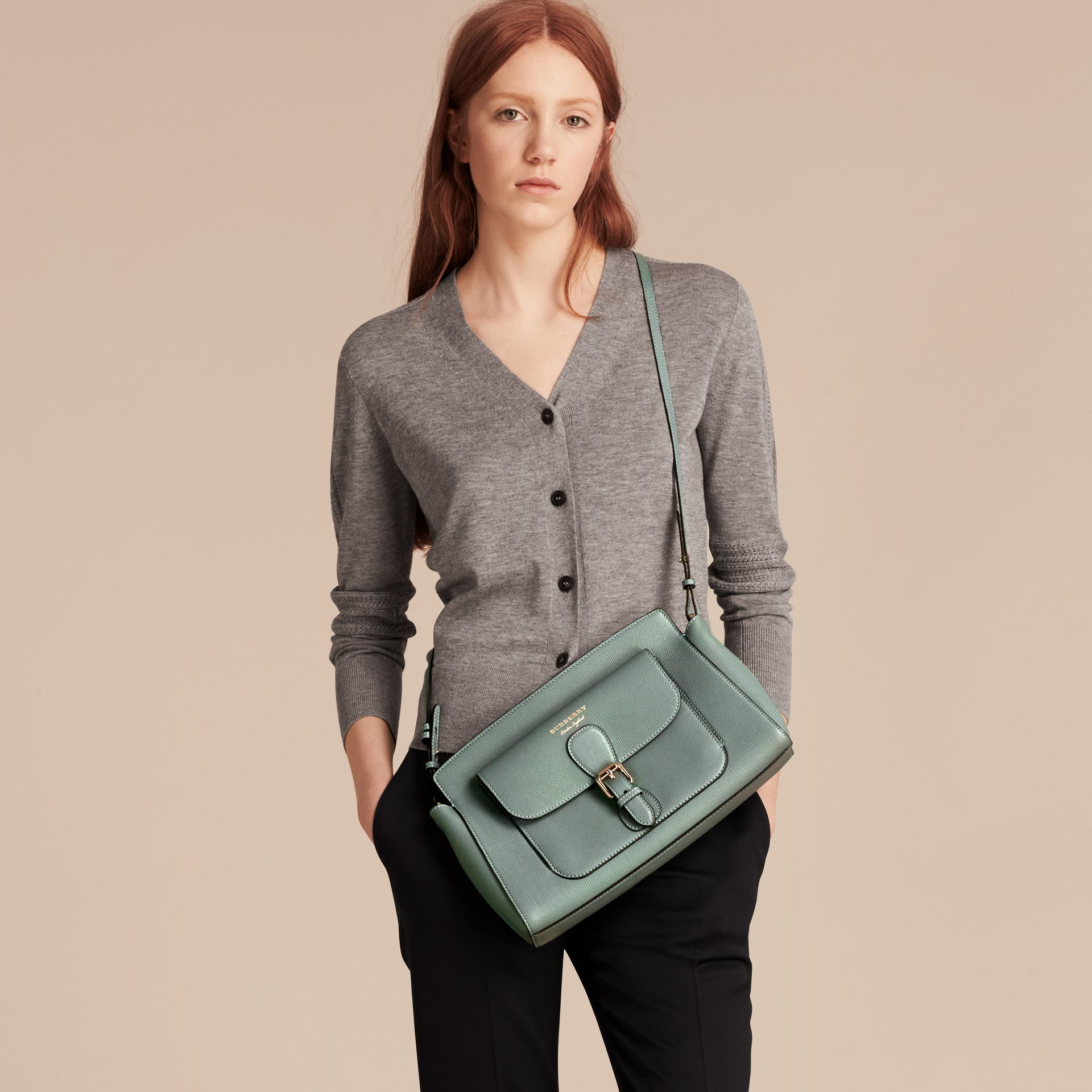 Smokey green The Saddle Clutch in Grainy Bonded Leather Smokey Green - gallery image 3