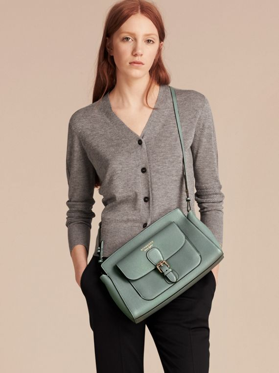 Smokey green The Saddle Clutch in Grainy Bonded Leather Smokey Green - cell image 2