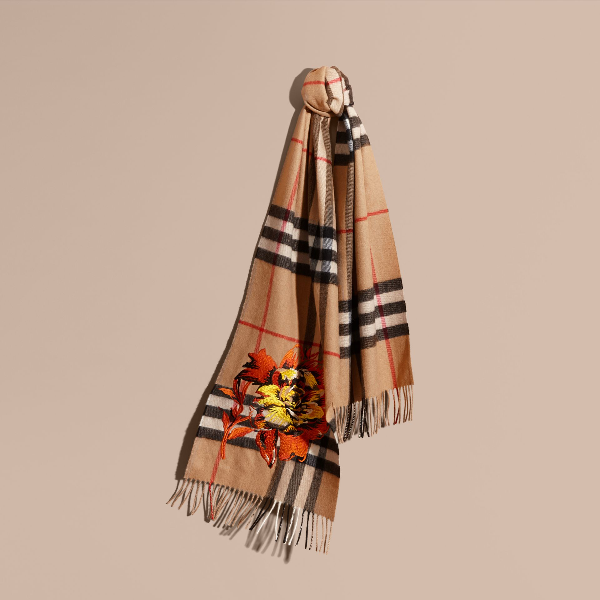 Camel/vibrant orange The Classic Cashmere Scarf with Embroidered Peony Rose - gallery image 6